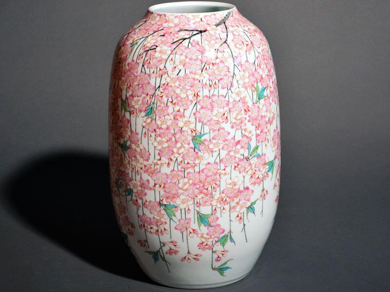 有田焼色絵桜の花瓶