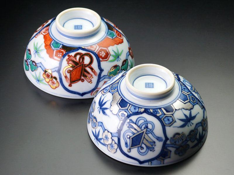 最高級献上金襴手夫婦茶碗