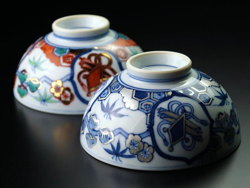 献上金襴手の夫婦茶碗の画像