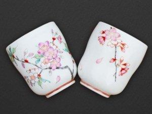 桜の夫婦湯呑