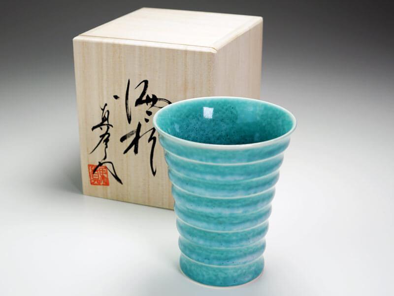 【有田焼】段付焼酎グラス 翡翠鈞窯