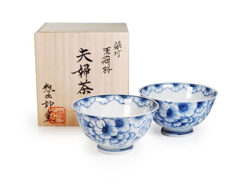 【有田焼】夫婦茶碗 染付王冠桜